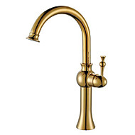 Country Vessel Single Handle One Hole in Antique Brass Bathroom Sink Faucet