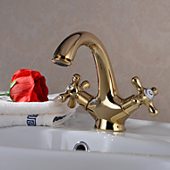 Traditional Centerset Ceramic Valve Two Handles One Hole with Ti-PVD Bathroom Sink Faucet