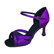 Customizable Women's Dance Shoes Performance/Latin/Salsa Satin Customized Heel Black/Purple