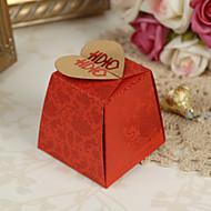 Floral Red Asian Style Wedding Favor Boxes - Set von 12
