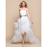 A-line/Princess Wedding Dress - Ivory Asymmetrical Strapless Tulle/Lace
