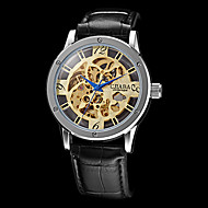 Men's Auto-Mechanical Hollow Engraving Black Leather Band Wrist Watch (Assorted Colors) Cool Watch Unique Watch