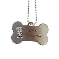 Gepersonaliseerde Gift Bone vorm zilver Pet Id Name Tag met ketting voor honden