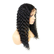 20inch Brazilian Remy Hair Front Lace Wig Deep Wave Off Svart