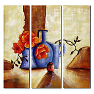 Hand Painted Oil Painting Still Life Pottery on Ground with Stretched Frame Set of 3