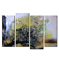 Hand Painted Oil Painting Botanical Tree by River with Stretched Frame Set of 4