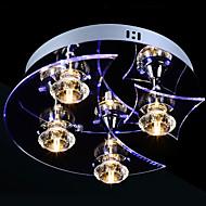 el cristal llevó montaje empotrado, 4 luz, artístico acero inoxidable tallado de acrílico