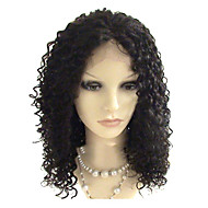 14inch brasilianska Virgin Hair Full Lace Wig Afro Curl Natural Black färgas