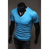 Herren T-shirt-Einfarbig Freizeit Baumwollmischung Kurz-Schwarz / Blau / Braun / Grün / Rosa / Rot / Weiß / Gelb / Grau