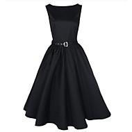 vrouwen plus size scoop kraag mouwloze midi swing vintage jurk