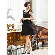 TS Couture® Cocktail Party / Holiday Dress - Short Plus Size / Petite A-line Straps Knee-length Chiffon with Criss Cross