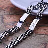 Gepersonaliseerde Gift Silver Heren Sieraden RVS gegraveerd ID Armbanden 0.8cm Breedte
