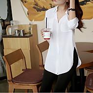 Sommar Enfärgad Trekvartsärm Ledigt/vardag Skjorta,Enkel / Streetchic Kvinnors V-hals Polyester Medium Vit / Lila