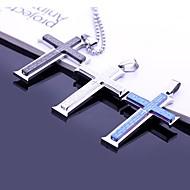 Gepersonaliseerde Gift-Zilver / Blauw / Zwart-Roestvast staal-Kettingen- voorHeren-