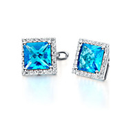 Stud Earrings Women's Silver Earring Cubic Zirconia