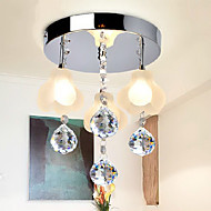 Crystal Flush Mount, 3 Light, Minimalist Metal Glass Electroplating