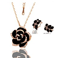Women's 18K Rose Gold Rose Green Crystal Alloy (Necklace&Earrings) Jewelry Sets