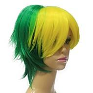 בלי כומתה, גובה quailty הירוקה צהוב פאה שיער סינתטית מעורבת קצרה