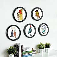 Black Round Photo Wall Frame Collection Set 5