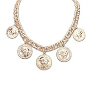 European and America Style (Circles Avatar Pattern) Plated Alloy Thick Chain Statement Necklace (Gold Color) (1 pc)