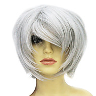 Capless Short Hign-temperature Resistance Shiny Grey Personality Costume Party Wig
