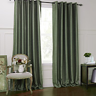 (Two Panels) Modern Solid Floral Off-White Embossed Blackout Curtain