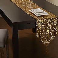 Paillettes d'or Chemin de Table avec le gland