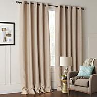 Two Panels Modern Floral / Botanical Beige Living Room Polyester Blackout Curtains Drapes