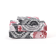 """Sheet Set,4-Piece Microfiber Retro Abstract Floral Black and Red with 12"""" Pocket Depth"""