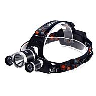 Hovedlygter LED 3 Modus 3800 Lumens Vandtæt Cree XM-L T6 18650 Camping/Vandring/Grotte Udforskning / Sykling / Multifunktion-Andre,Sort