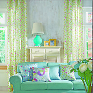 Modern Two Panels Polka Dots Pink  Aqua  Multi-color Bedroom Polyester Panel Curtains Drapes