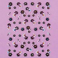 3D-Design Schwarz Coreopsis Muster Strass Nail Art Sticker