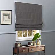 Contemporary Grey Solid Polyester Blackout Roman Shade