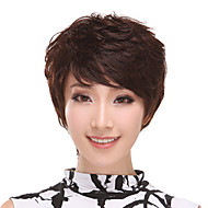 Side Bangs senza cappuccio corto riccio 100% capelli umani parrucche (marrone scuro)