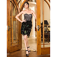 Cocktail Party/Prom/Holiday Dress - Black Plus Sizes Sheath/Column Sweetheart Short/Mini Lace/Stretch Satin