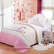 Huani® Duvet Cover Set, 2-Piece for Kids, 100% Cotton Contemporary Embroidery Print Little Garden