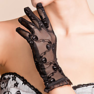 Wrist Length Fingertips Glove Lace Bridal Gloves / Party/ Evening Gloves Spring / Summer / Fall Black