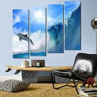 Trykk på strukket Art The Waves og delfiner Sett med 4
