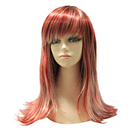 Sin tapa color mixto sintético recta larga peluca de pelo sintético