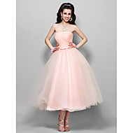 Homecoming Wedding Party/Homecoming/Cocktail Party Dress - Pearl Pink Plus Sizes A-line/Princess Strapless Tea-length Tulle