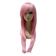 캡리스 합성 분홍색 긴 똑 바른 합성 머리 당 가발