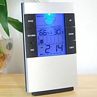 """2,7 """"LCD Luminous Værmelding Termometer + Hygrometer w / vekkerklokke"""