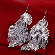 Fashion  Leafs Shaped Silver Plating Hanging Earrings Leaf Shape Silver Earrings Of Foreign Trade(Silver)(1Pair)