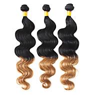 100% Human Hair Weaving Two Tone Color Brazilian Virgin Ombre Hair 16Inches Body Wave