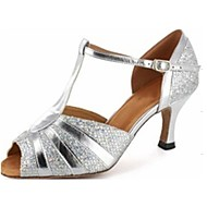 Latin/Salsa Dance Shoes Customized Women's Leatherette Sparkling Silver Color Ballroom Shoes