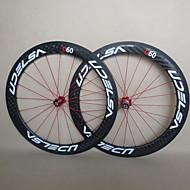 udelsa - hv-r60-c 60mm 700c fulle karbonfiber clincher road sykkel / sykkel hjulsett
