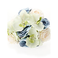 """Wedding Flowers Round Roses Bouquets Wedding Party/ Evening Satin Silk Tulle Blue 9.84""""(Approx.25cm)"""