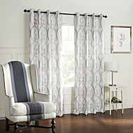 (Two Panels) Barroco Style Curve Circles Pattern Room Darkening Curtain