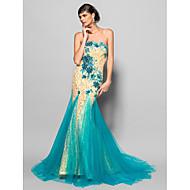 Formal Evening Dress - Daffodil Plus Sizes Trumpet/Mermaid Scalloped Chapel Train Lace