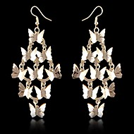 (1 Pair)European (Multilayer Butterfly Lace) as Picture Alloy Drop Earrings(Golden)